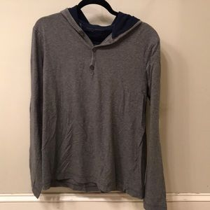 Men's henley hoodie light sweatshirt